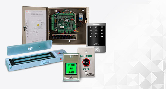 Visionis maglocks, exit buttons, card and keypad readers, access controllers